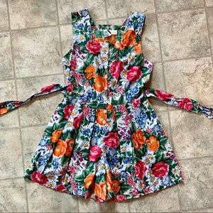 Vintage 80s 90s Floral Romper Button Up M